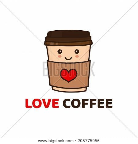 Cute funny happy paper coffee cup. Vector modern style flat character cartoon illustration icon logo template design. Isolated on yellow background. Kid child. Love coffee cafe concept . Coffee to go