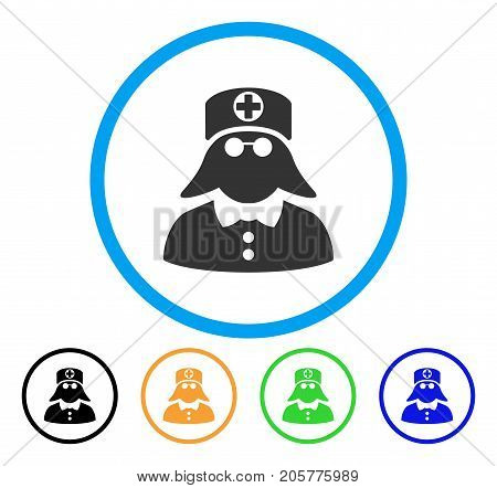 Medical Nurse rounded icon. Style is a flat medical nurse grey symbol inside light blue circle with black, yellow, green, blue variants. Vector designed for web and software interfaces.