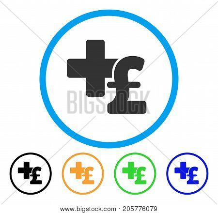 Medical Pound Business rounded icon. Style is a flat medical pound business grey symbol inside light blue circle with black, yellow, green, blue versions.