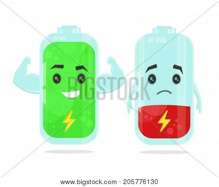 low battery and full power battery vector flat cartoon character illustration. Energy charge concept