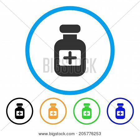 Medication Phial rounded icon. Style is a flat medication phial grey symbol inside light blue circle with black, yellow, green, blue color versions. Vector designed for web and software interfaces.