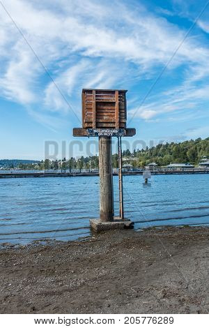 A view of a lifeguard tower at Gene Coulon Park in Renton Washington.