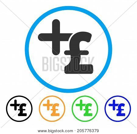Medicine Pound Price rounded icon. Style is a flat medicine pound price gray symbol inside light blue circle with black, yellow, green, blue color versions.