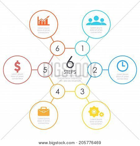 Linear infographics. Outline round chart, graph with 6 steps, options. Vector design element. Business circle concept.
