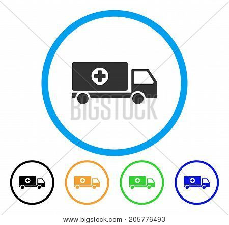 Mobile Hospital Automobile rounded icon. Style is a flat mobile hospital automobile grey symbol inside light blue circle with black, yellow, green, blue versions.