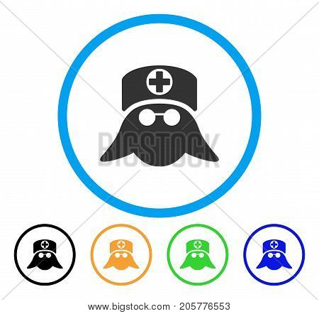Nurse Head rounded icon. Style is a flat nurse head grey symbol inside light blue circle with black, yellow, green, blue versions. Vector designed for web and software interfaces.