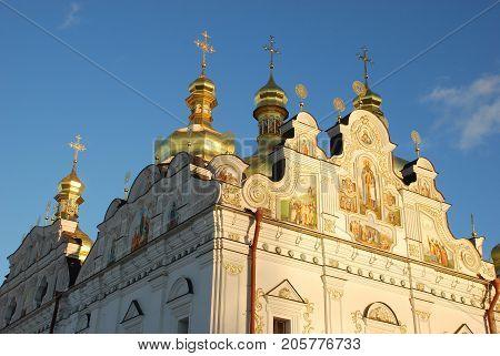 Uspenskiy Cathedral, Kiev-Pechersk Lavra, Kiev, Ukraine against the blue sky