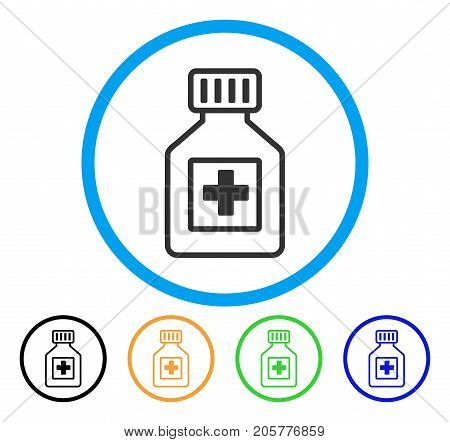 Pharmacy Vial rounded icon. Style is a flat pharmacy vial grey symbol inside light blue circle with black, yellow, green, blue color versions. Vector designed for web and software interfaces.