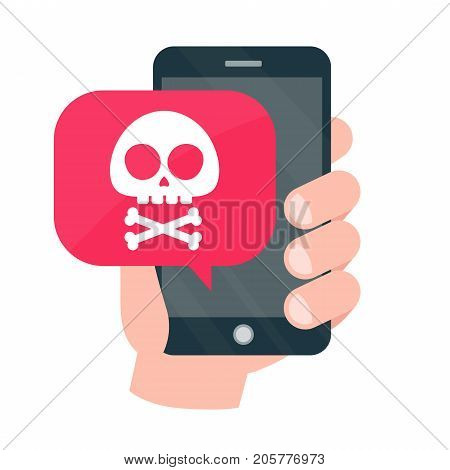 Smartphone mobile in danger concept. Vector modern style cartoon character illustration icon design. Malware notification, fraud internet error message, insecure connection,online scam,virus.red alert