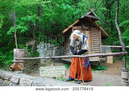 Kiev,Ukraine, APRIL  27, 2008: Fairy-tale character Baba Yaga in the play for children in the park