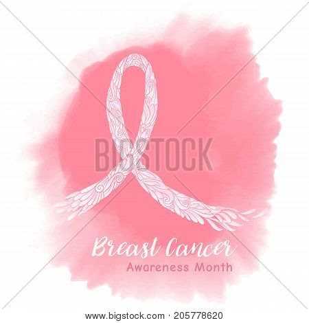 Breast cancer awareness month decorative pink ribbon on watercolor background. Stock line vector illustration.