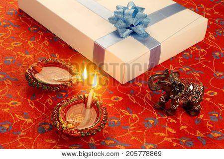Indian Festival Diwali Diya with Gift Box