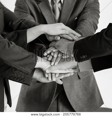 Group of business people meeting shaking hands together business outdoor meeting concept.