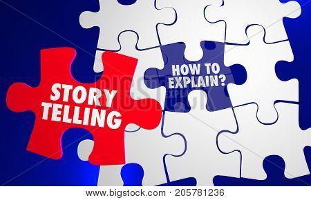 Storytelling Puzzle Pieces Explain Inform Communicate 3d Illustration