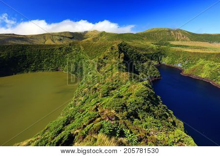 Lagoa Comprida and Lagoa Fonda, Flores Island, Azores, Portugal, Europe
