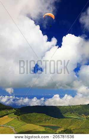 Paragliding over Sete Cidades, Sao Miguel Island, Azores, Portugal, Europe