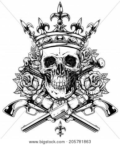 Graphic realistic black and white detailed human skull with crossed bones crown and roses with old revolvers vector