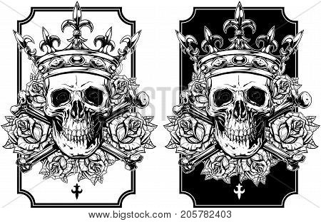 Graphic realistic black and white detailed human skull with crossed bones crown and roses with spikes vector set