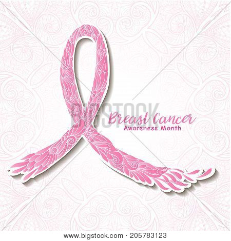 Breast cancer awareness month decorative pink ribbon. Stock line vector illustration.