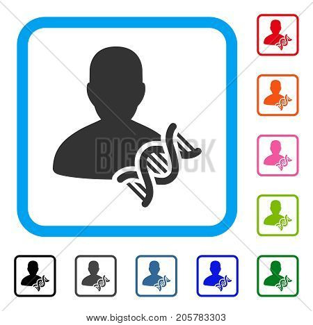 Geneticist DNA icon. Flat iconic symbol inside a rounded rectangular frame. Black, gray, green, blue, red, orange color additional versions of Geneticist DNA vector.