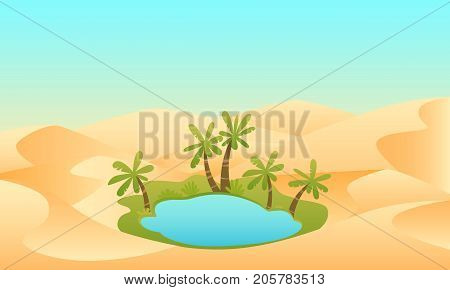 Oasis. Lake and palms in the desert. Vector illustration