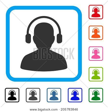 Listen Operator icon. Flat pictogram symbol inside a rounded frame. Black, gray, green, blue, red, orange color variants of Listen Operator vector. Designed for web and software UI.