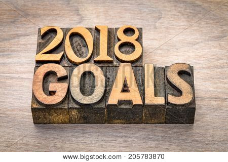 2018 goals banner - New Year resolution concept - text in vintage letterpress wood type printing blocks against grained wood