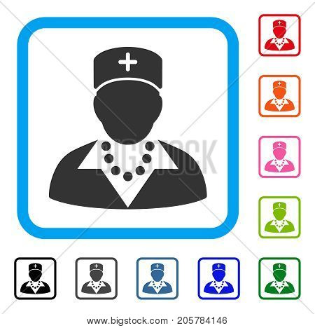 Nurse icon. Flat iconic symbol in a rounded rectangular frame. Black, gray, green, blue, red, orange color variants of Nurse vector. Designed for web and application interfaces.