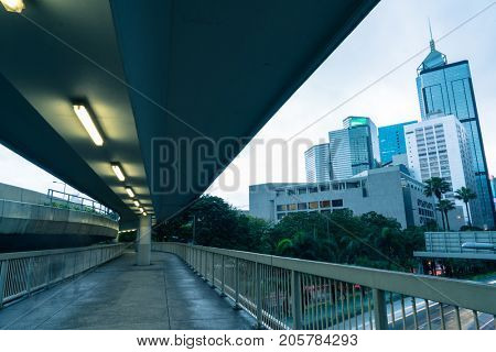 photo taken from pedestrian skywalk in central district of Hong Kong,China.