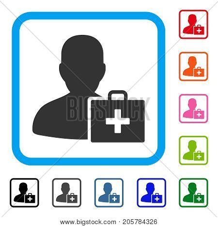 Paramedic icon. Flat iconic symbol in a rounded rectangle. Black, gray, green, blue, red, orange color additional versions of Paramedic vector. Designed for web and software interfaces.