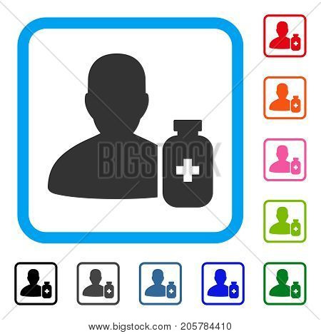 Pharmacist Medicine icon. Flat pictogram symbol in a rounded frame. Black, gray, green, blue, red, orange color additional versions of Pharmacist Medicine vector.