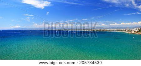 Emerald water of the mediterranean sea. Panoramic view of the mediterranean sea at sardinia island.