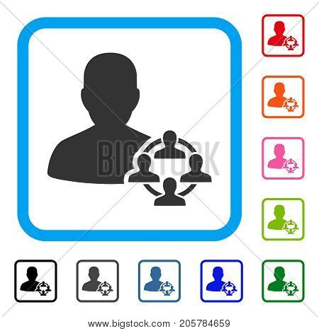 Politics icon. Flat iconic symbol inside a rounded squared frame. Black, gray, green, blue, red, orange color additional versions of Politics vector. Designed for web and application interfaces.