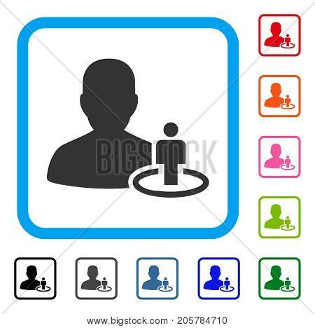 Portal Moderator icon. Flat iconic symbol in a rounded square. Black, gray, green, blue, red, orange color additional versions of Portal Moderator vector. Designed for web and application UI.