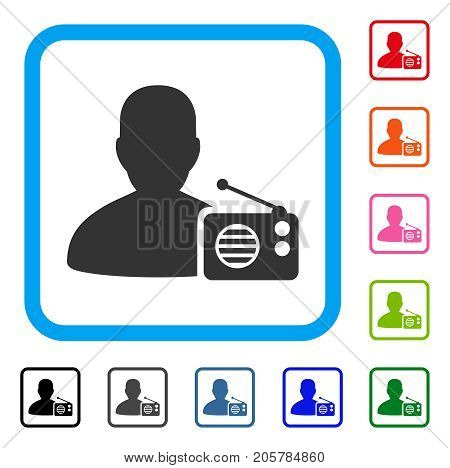 Radio Dictor icon. Flat pictogram symbol inside a rounded rectangle. Black, gray, green, blue, red, orange color additional versions of Radio Dictor vector. Designed for web and app interfaces.