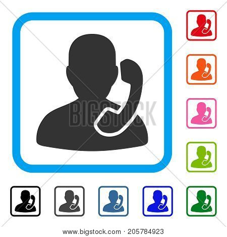 Reception icon. Flat iconic symbol inside a rounded rectangular frame. Black, gray, green, blue, red, orange color versions of Reception vector. Designed for web and app user interface.