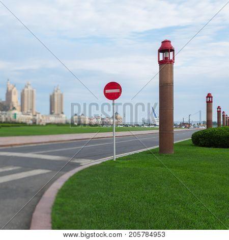 No entry sign stand at roadside,dalian,china.