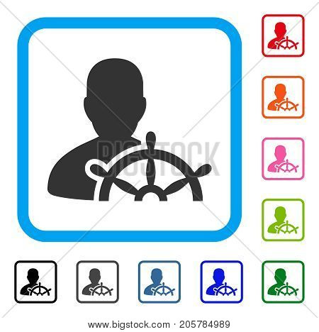 Ship Captain icon. Flat pictogram symbol in a rounded rectangle. Black, gray, green, blue, red, orange color variants of Ship Captain vector. Designed for web and app UI.