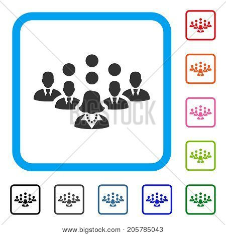Staff Team icon. Flat iconic symbol inside a rounded square. Black, gray, green, blue, red, orange color additional versions of Staff Team vector. Designed for web and app user interface.
