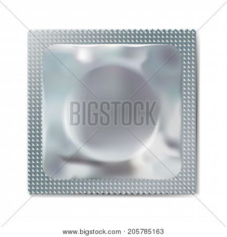 Condom wrapper package silver blank template, packaging foil isolated on white. Mock up of packaging for condoms, vector illustration of condom for protection.