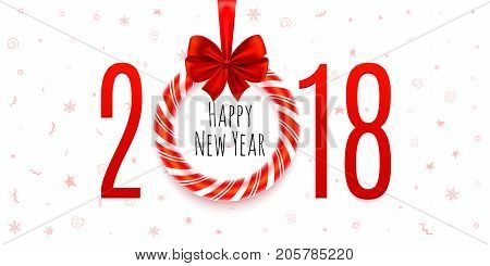 happy new year 2018 background with hand drawn pattern banner calendar poster or greeting card template design number 2018 with realistic christmas tree