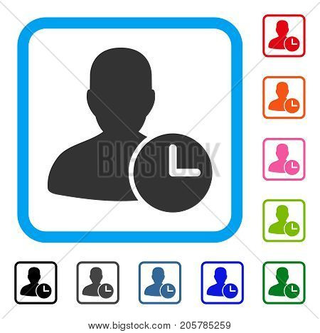 Time Management Clock icon. Flat pictogram symbol in a rounded rectangle. Black, gray, green, blue, red, orange color additional versions of Time Management Clock vector.
