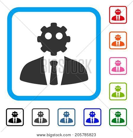 Artificial Office Worker icon. Flat grey pictogram symbol in a light blue rounded square. Black, gray, green, blue, red, orange color additional versions of Artificial Office Worker vector.