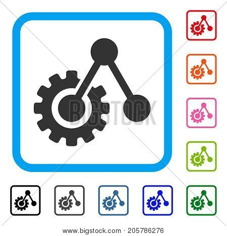 Engine Structure icon. Flat gray iconic symbol inside a light blue rounded rectangular frame. Black, gray, green, blue, red, orange color versions of Engine Structure vector.