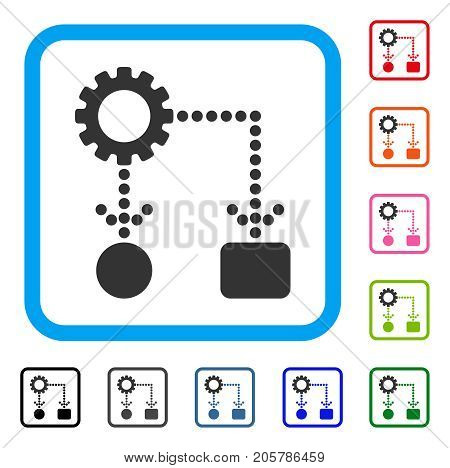 Flow Chart Configuration icon. Flat grey iconic symbol in a light blue rounded square. Black, gray, green, blue, red, orange color versions of Flow Chart Configuration vector.