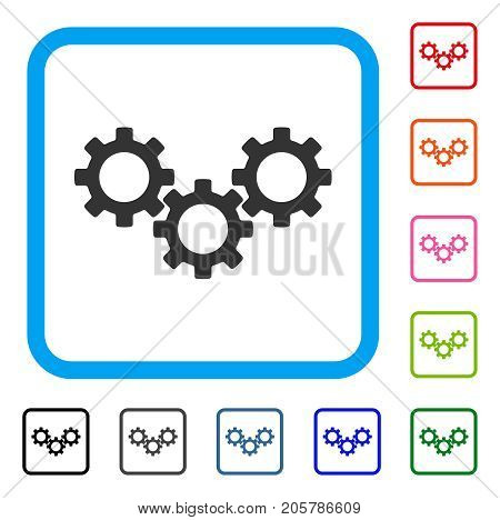 Gear Box icon. Flat gray iconic symbol inside a light blue rounded squared frame. Black, gray, green, blue, red, orange color additional versions of Gear Box vector.