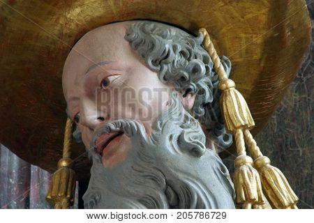 LEPOGLAVA, CROATIA - AUGUST 08: Saint Jerome statue in the church of Immaculate Conception in Lepoglava, Croatia on August 08, 2017.