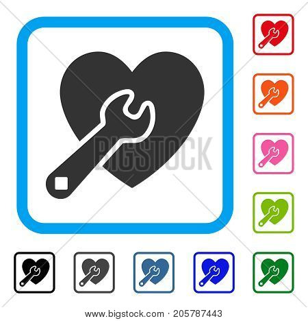 Heart Wrench Tools icon. Flat grey pictogram symbol inside a light blue rounded frame. Black, gray, green, blue, red, orange color additional versions of Heart Wrench Tools vector.