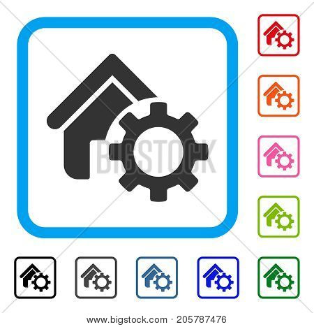 Homepage Options Gear icon. Flat gray iconic symbol in a light blue rounded square. Black, gray, green, blue, red, orange color versions of Homepage Options Gear vector.