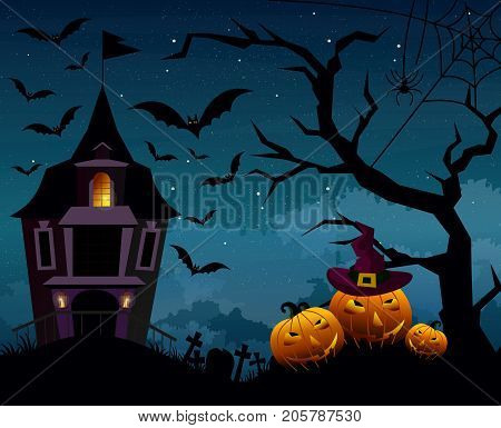 Vector illustration of Halloween background with silhouettes of pumpkins and terrible house or castle in the cemetery on dark blue night sky. Halloween postcard in flat cartoon style